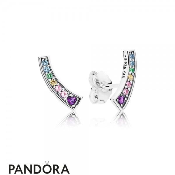 Women's Pandora Jewelry Rainbow Arcs Of Love Earring Studs Jewelry