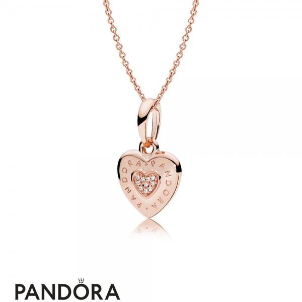 Pandora Rose Logo Heart Necklace Jewelry
