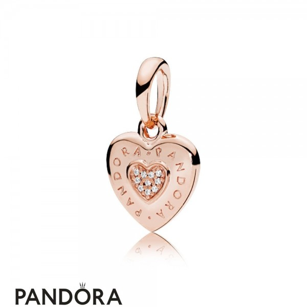 Pandora Rose Logo Heart Necklace Pendant Jewelry
