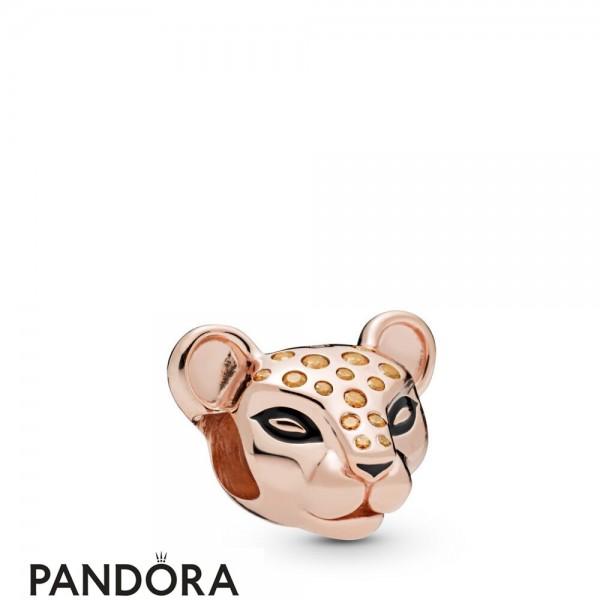 Pandora Rose Enamel Black Cubic Zirconia Sparkling Lion Princess Charm Jewelry