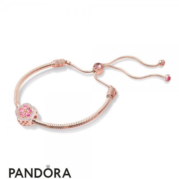 Pandora Rose Enamel Brown Pink Red White No Stone Lower Cluster Bracelet Jewelry