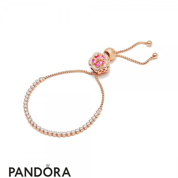 Pandora Rose Enamel Pink Mixed Stones Crystal Synthetic Sapphire Dazzling Peach Bracelet Jewelry