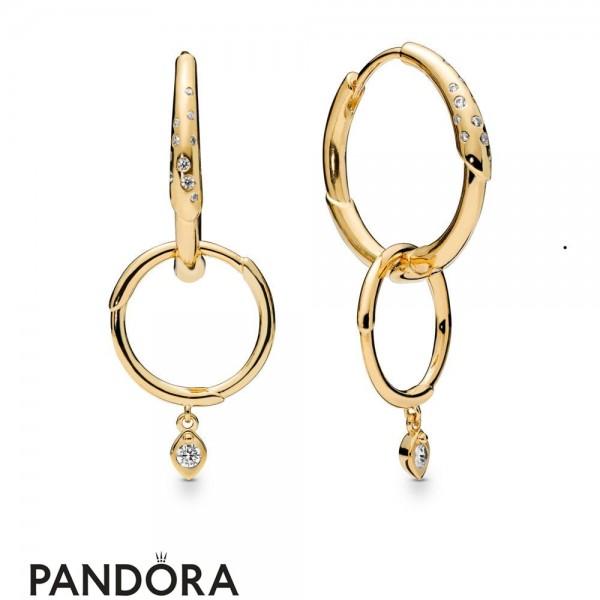 Pandora Shine Flower Stem Earring Hoops Jewelry