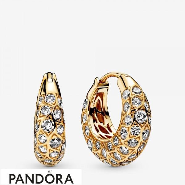 Pandora Shine Sparkling Pattern Hoop Earrings Jewelry