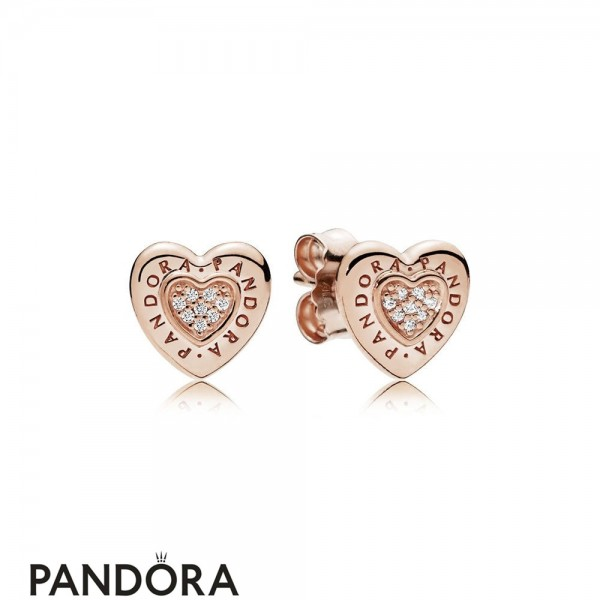 Pandora Signature Heart Stud Earrings Pandora Rose Jewelry