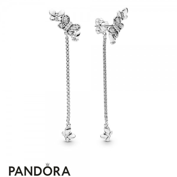 Women's Pandora Silver Bedazzling Butterflies Hanging Earrings Jewelry