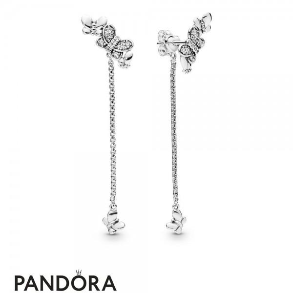 Women's Pandora Silver Bedazzling Butterflies Hanging Earrings Jewelry