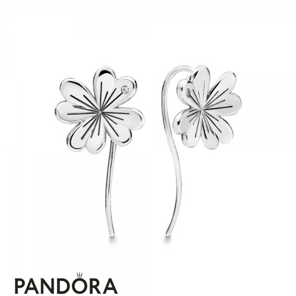 Women's Pandora Silver Lucky Four Leaf Clovers Hanging Earrings Jewelry