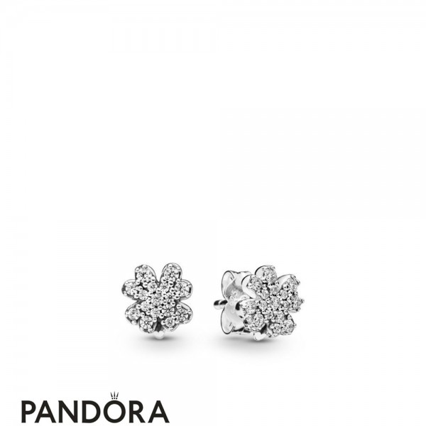 Women's Pandora Silver Radiant Lucky Four Leaf Clover Earring Studs Jewelry