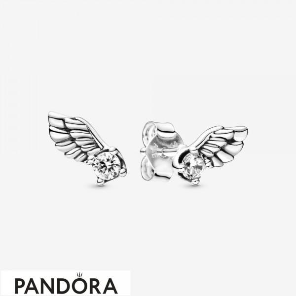 Women's Pandora Sparkling Angel Wing Stud Earrings Jewelry