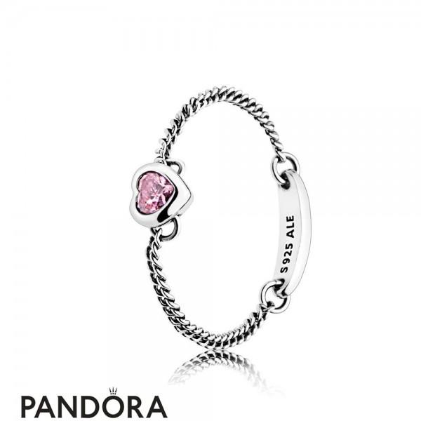 Women's Pandora Spirited Heart Ring Pink Cz Jewelry