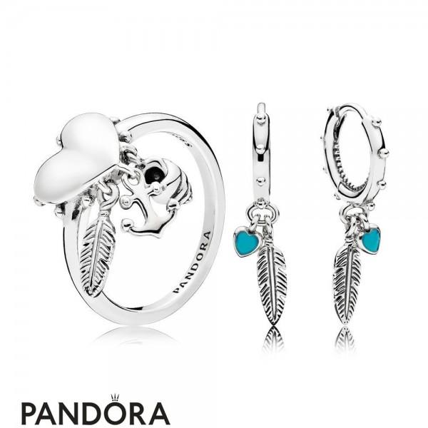 Women's Pandora Spritual Symbols Ring And Earring Set Jewelry