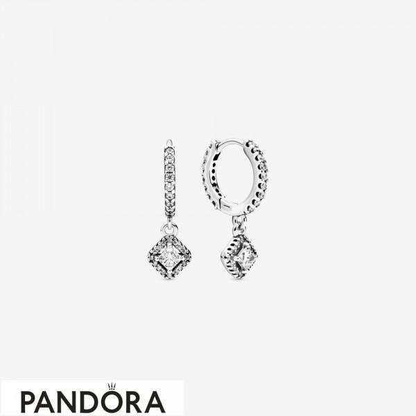 Women's Pandora Square Sparkle Hoop Earrings Jewelry