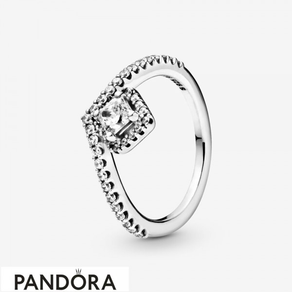 Women's Pandora Square Sparkle Wishbone Ring Jewelry