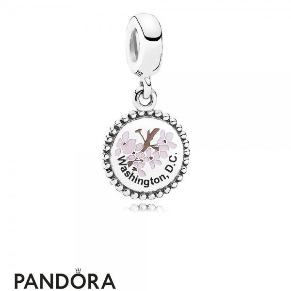 Women's Pandora Washington DC Cherry Blossom Dangle Charm Mixed Enamel Jewelry