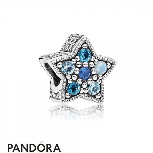Pandora Winter Collection Bright Star Charm Multi Colored Crystals Jewelry