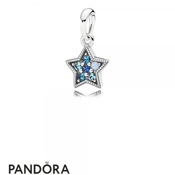 Pandora Winter Collection Bright Star Necklace Pendant Multi Colored Crystals Jewelry