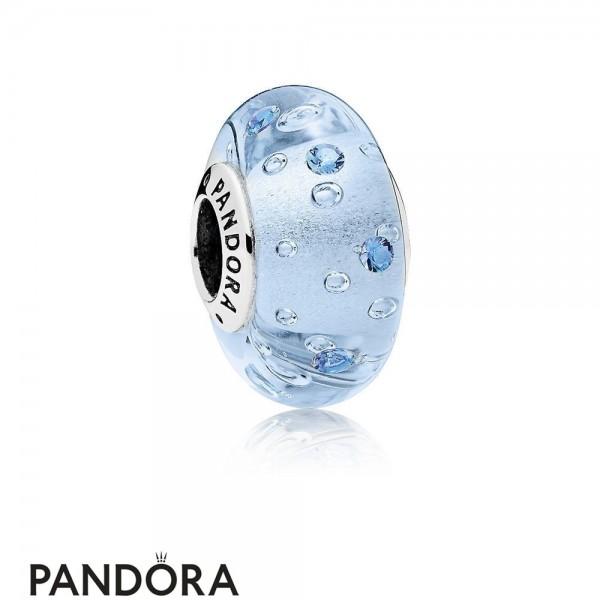 Pandora Winter Collection Ice Drops Murano Glass Charm Blue Cz Jewelry