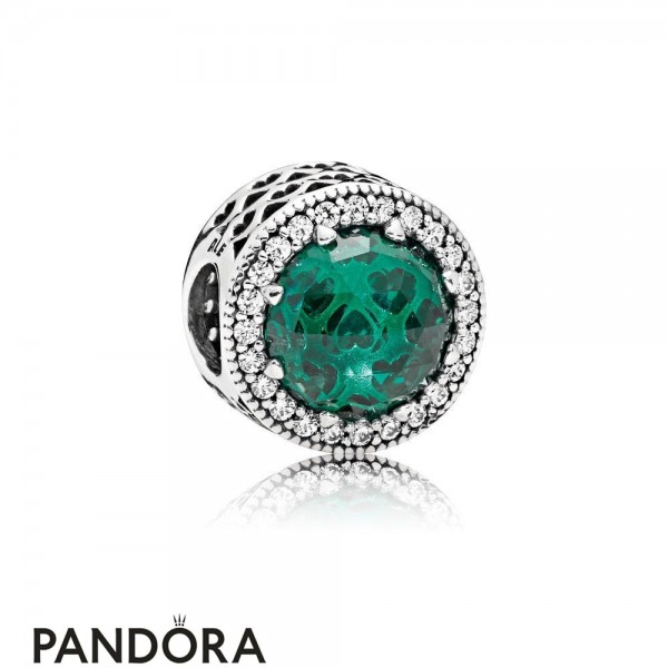 Pandora Winter Collection Radiant Hearts Charm Sea Green Crystals Jewelry