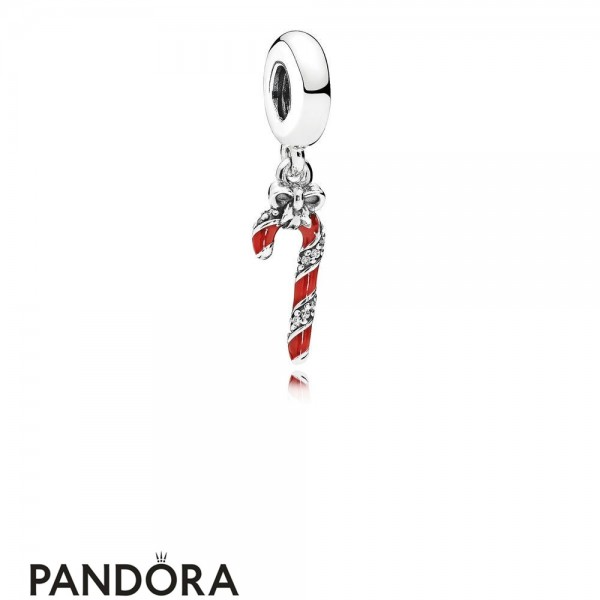 Pandora Winter Collection Sparkling Candy Cane Pendant Charm Berry Red Enamel Jewelry