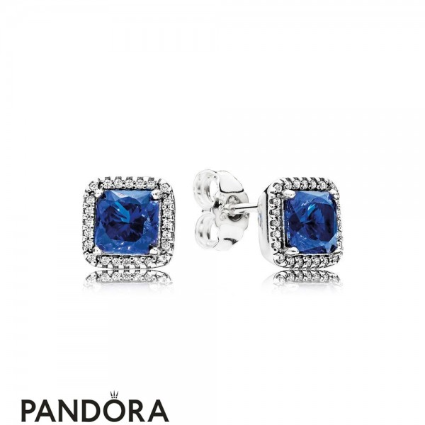 Pandora Winter Collection Timeless Elegance Stud Earrings True Blue Crystals Jewelry