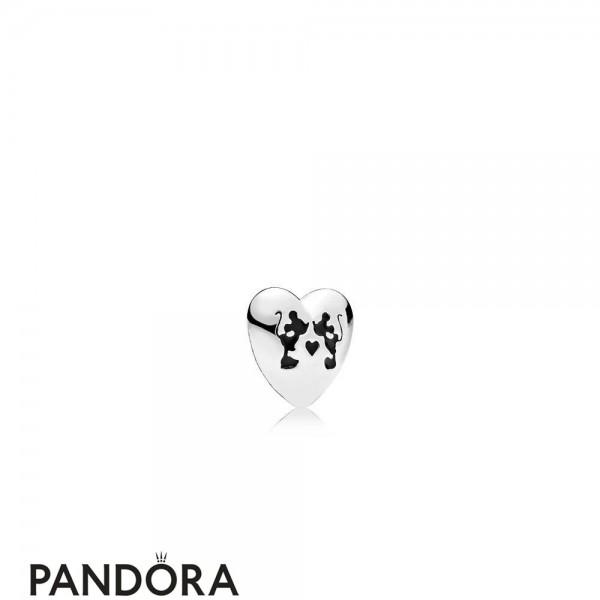 Pandora Disney Charms Mickey Minnie Kiss Petite Charm Black Enamel Jewelry
