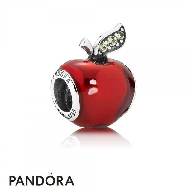 Pandora Disney Charms Snow White's Apple Charm Red Enamel Light Green Cz Jewelry