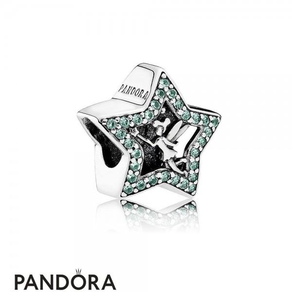 Pandora Disney Charms Tinker Bell Star Charm Green Cz Jewelry