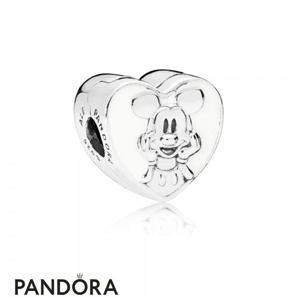 Women's Pandora Disney Vintage Mickey Clip White Enamel Jewelry
