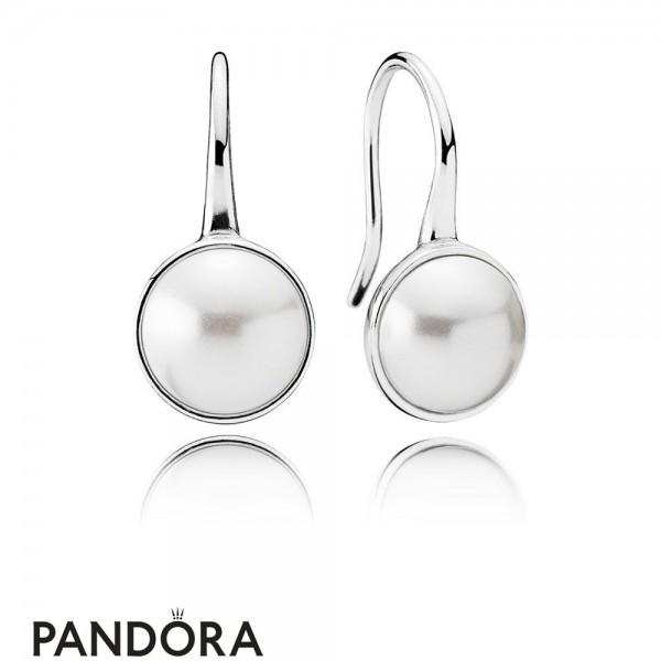 Pandora Earrings Luminous Droplets Drop Earrings White Crystal Pearl Jewelry