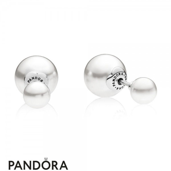 Pandora Earrings Luminous Drops Stud Earrings White Crystal Pearl Jewelry