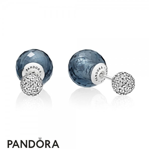 Pandora Earrings Shimmering Drops Midnight Blue Crystals Jewelry