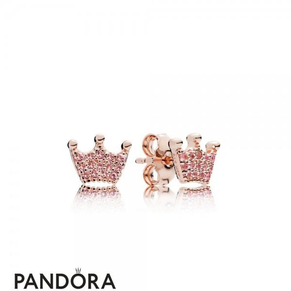Pandora Rose Pink Enchanted Crown Earring Studs Jewelry