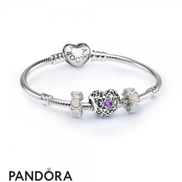 Women's Pandora February Signature Heart Birthstone Charm Bracelet Set Jewelry