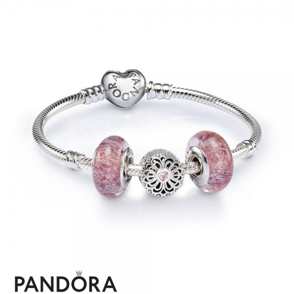 Women's Pandora Love And Friendship Openwork Charm Bracelet Set Jewelry