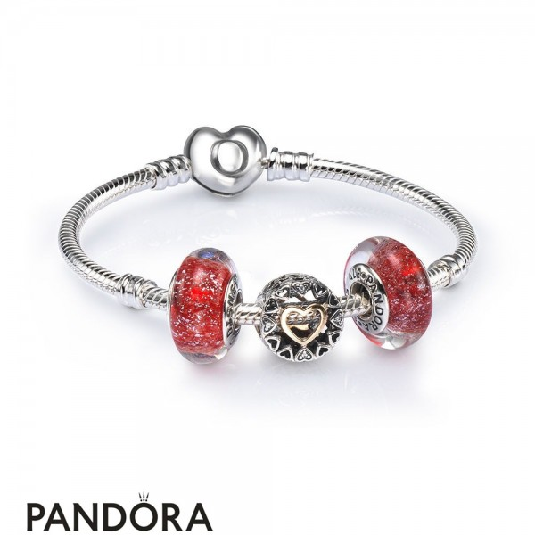 Women's Pandora Loving Circle Openwork Charm Bracelet Set Jewelry