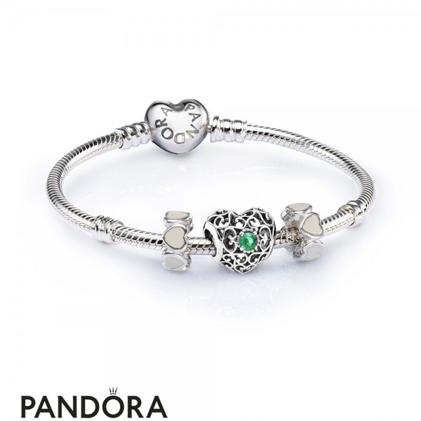 Women's Pandora May Signature Heart Birthstone Charm Bracelet Set Jewelry