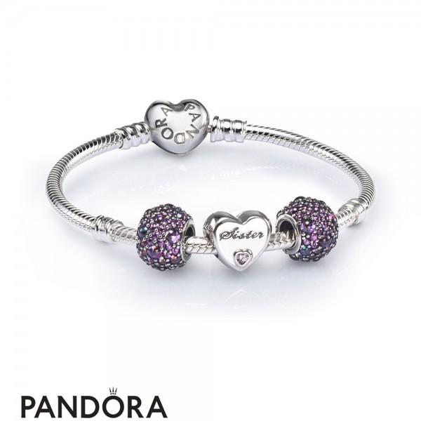 Women's Pandora Sister Heart Charm Bracelet Set Jewelry