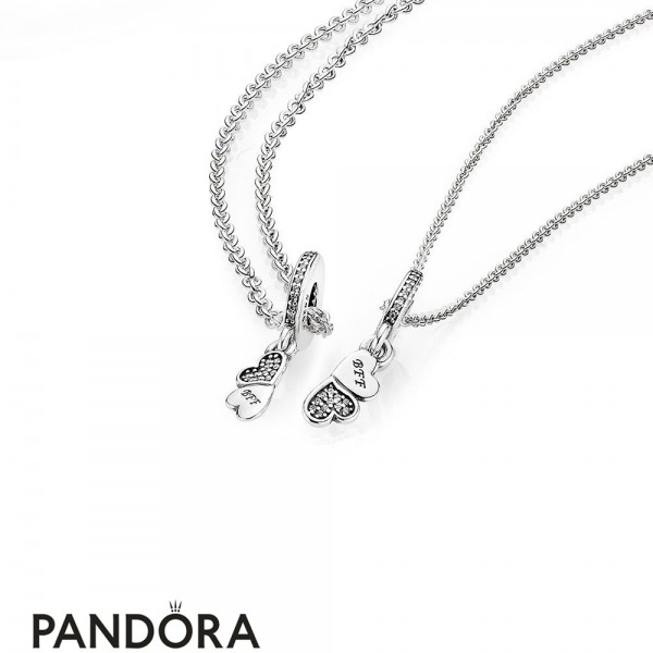Women's Pandora Hearts Silver Dangle With Clear Cubic Zirconia And Necklace Jewelry