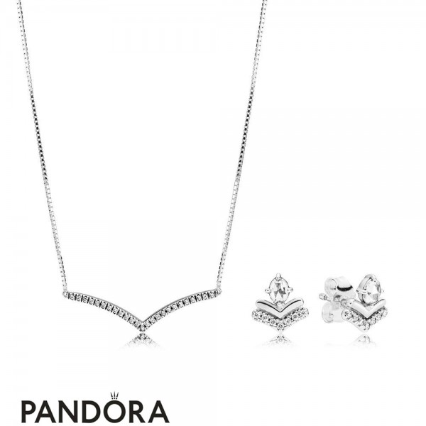 Women's Pandora Shimmering Wish Necklace And Earring Set Jewelry